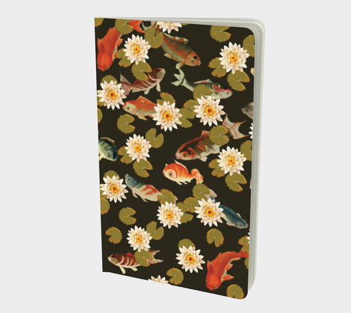 Koi & Lily Pads in Dark Water Small Notebook