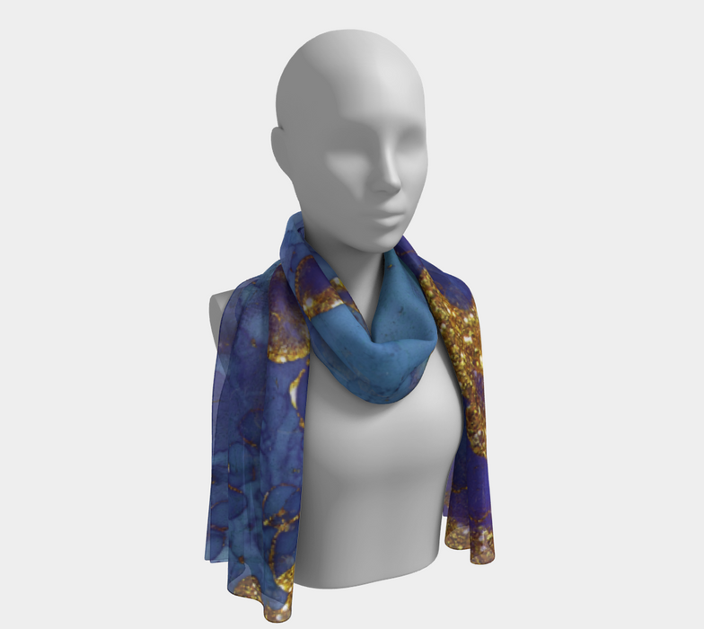 Watercolor Swirls F - Blue & Gold, Long Scarf