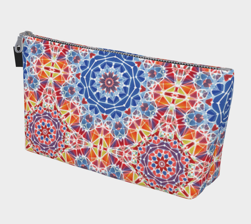 Blue and Orange Kaleidoscope Makeup Bag