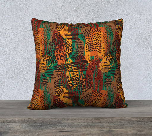 "Safari Animal Print Mashup 22"" x 22"" Decorative Pillow Case"