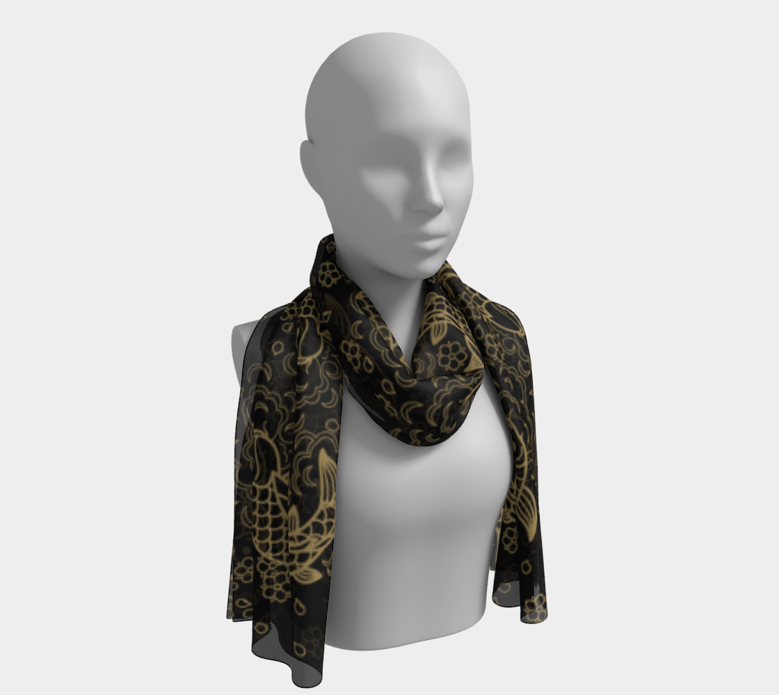 Gold Koi and Flowers on Black Background Long Scarf