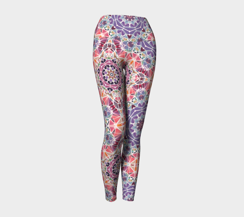 Purple and Pink Kaleidoscope Yoga Leggings