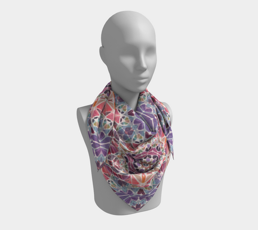 Purple & Pink Kaleidoscope Square Scarf