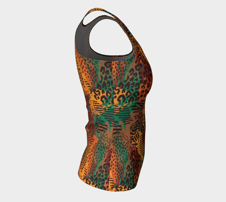 Safari Animal Print Mashup Fitted Tank Top