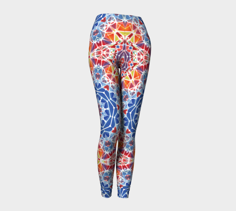 Blue and Orange Kaleidoscope Leggings