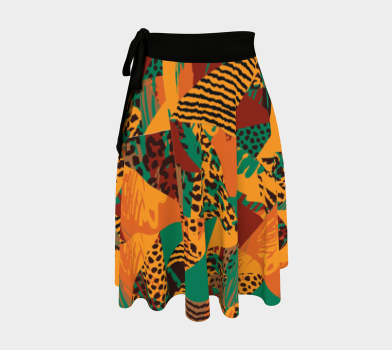 Abstract Safari Print Wrap Skirt