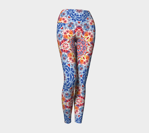 Blue and Orange Kaleidoscope Yoga Leggings