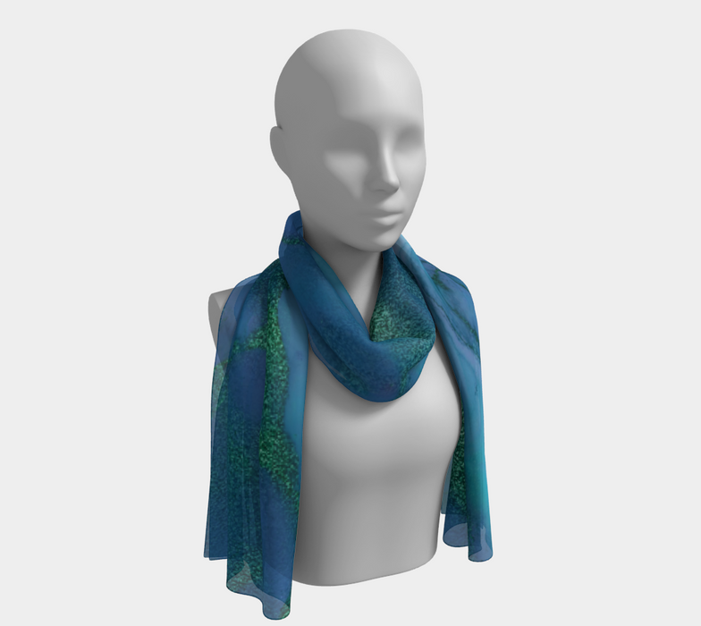 Watercolor Swirls P - Blues & Greens, Long Scarf