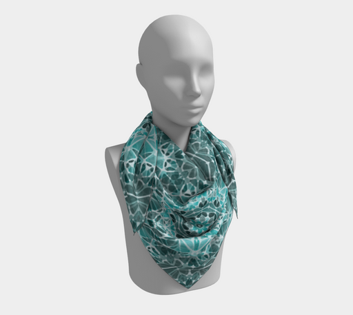 Turquoise & Gray Kaleidoscope Square Scarf