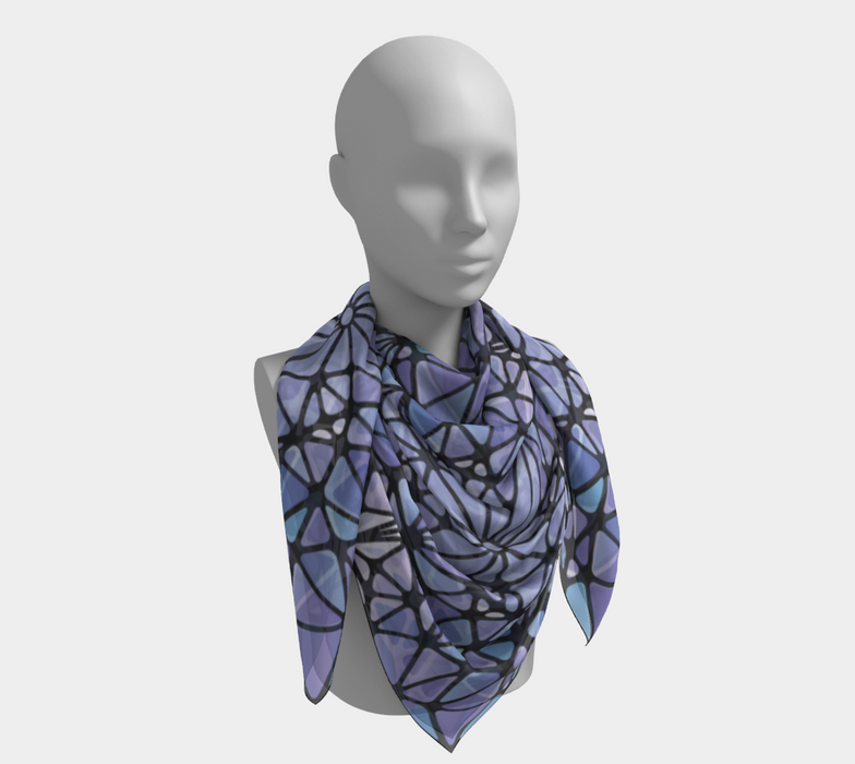 Purple & Blue Kaleidoscope Square Scarf