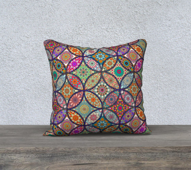 "Vibrant Mandalas 18"" x 18"" Decorative Pillow Case"