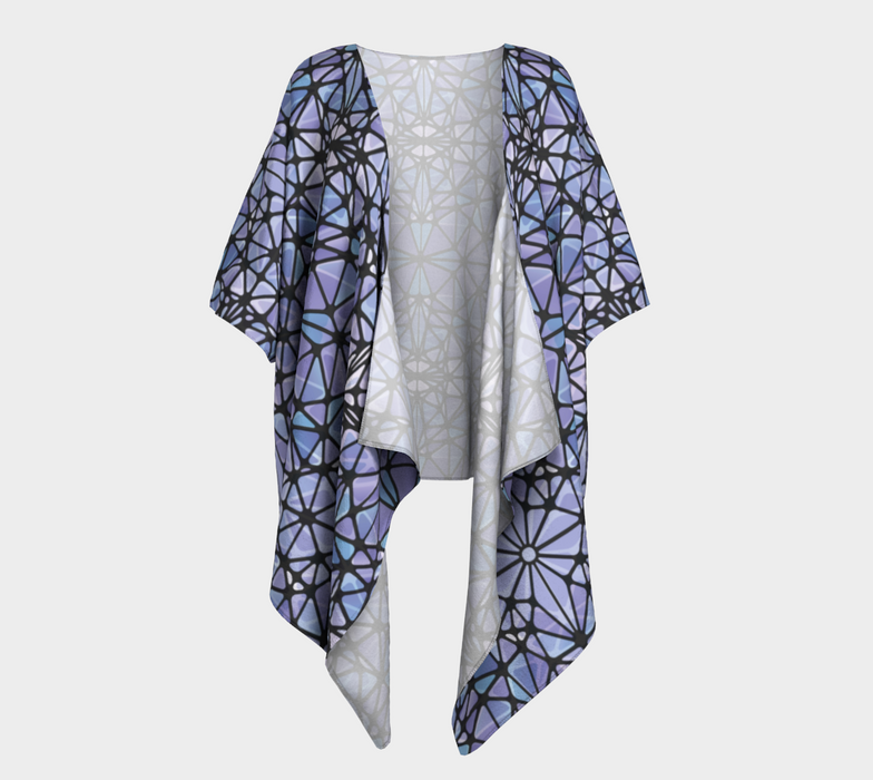 Purple and Blue Kaleidoscope Draped Kimono