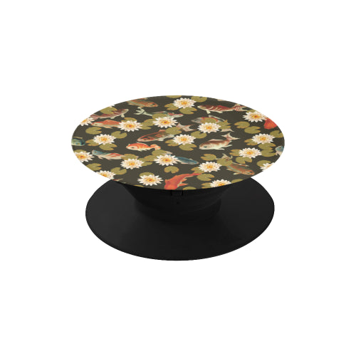 Koi & Lily Pads in Dark Water - Black Multi-function Cell Phone Stand