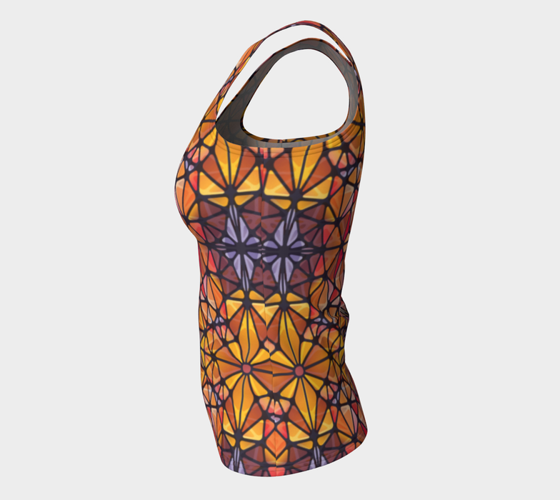 Amber Kaleidoscope Fitted Tank Top