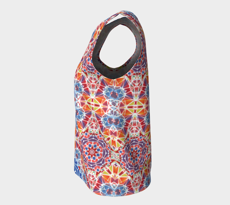 Blue and Orange Kaleidoscope Loose Tank Top