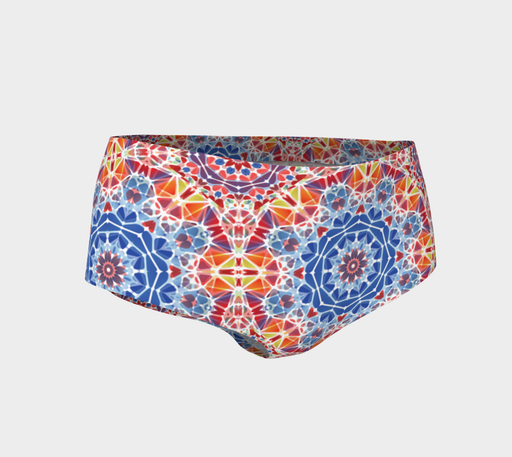 Blue and Orange Kaleidoscope Mini Shorts