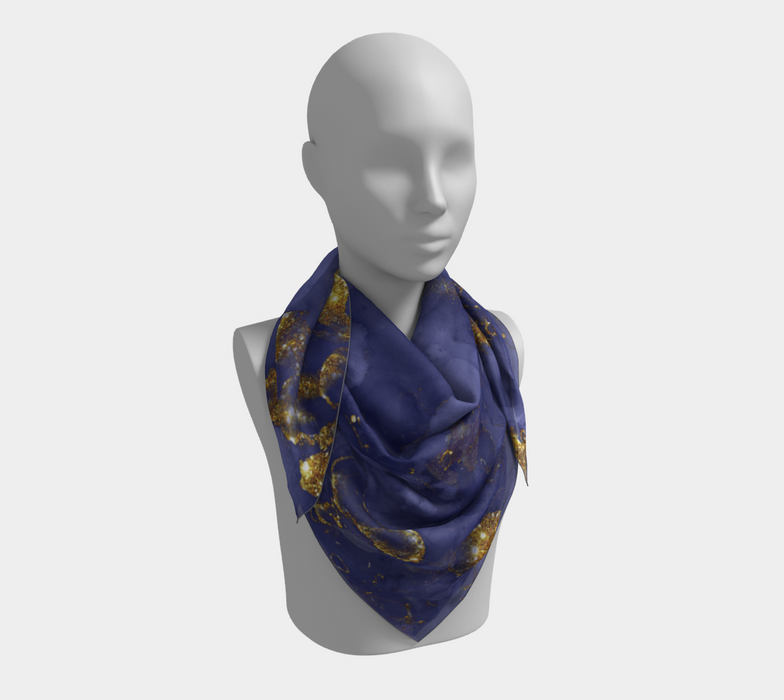 Watercolor Swirls C - Blue & Gold, Square Scarf