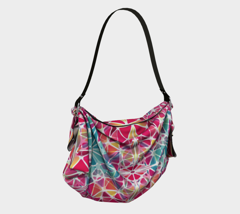 Pink and Blue Kaleidoscope Origami Tote