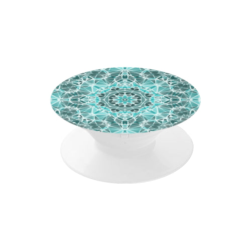 Turquoise & Gray Kaleidescope - White Multi-function Cell Phone Stand (Set of 2)