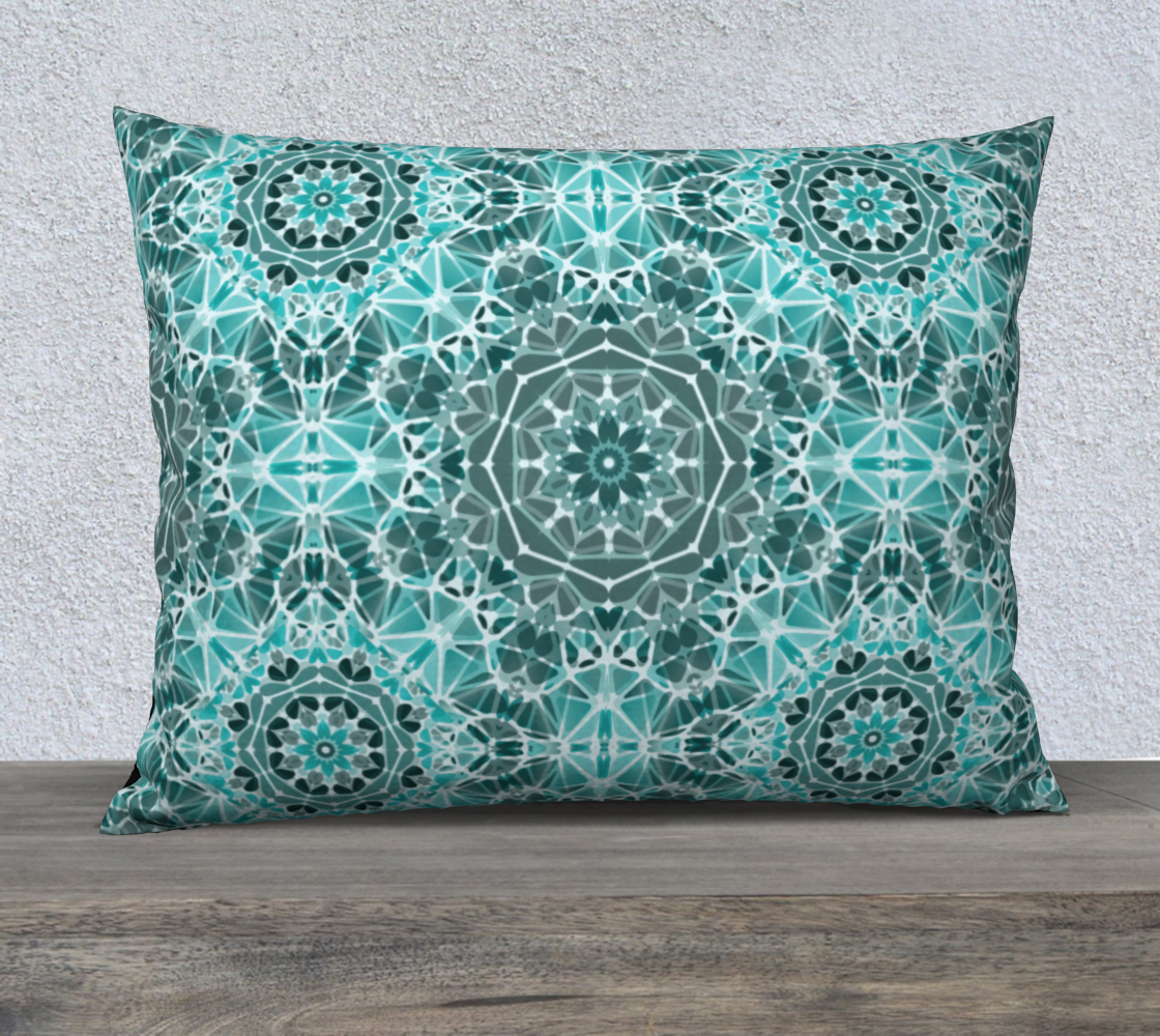 "Turquoise & Gray Kaleidoscope 26"" x 20"" Decorative Pillow Case"