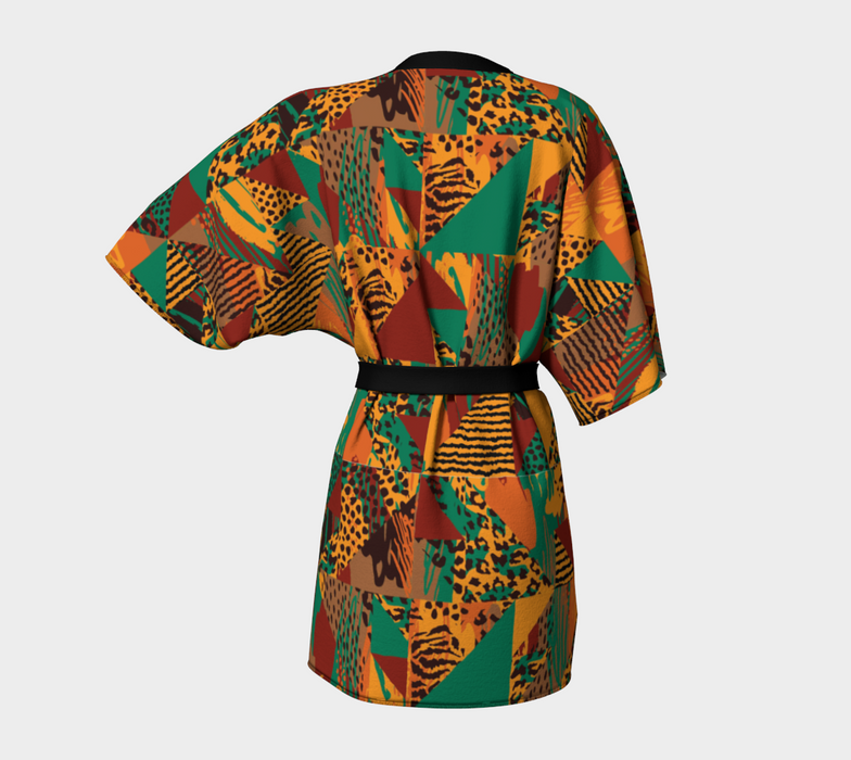 Abstract Safari Print Kimono Robe