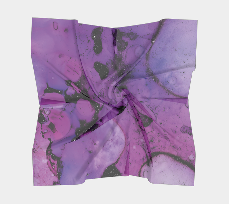 Watercolor Swirls K - Purple & Black, Square Scarf