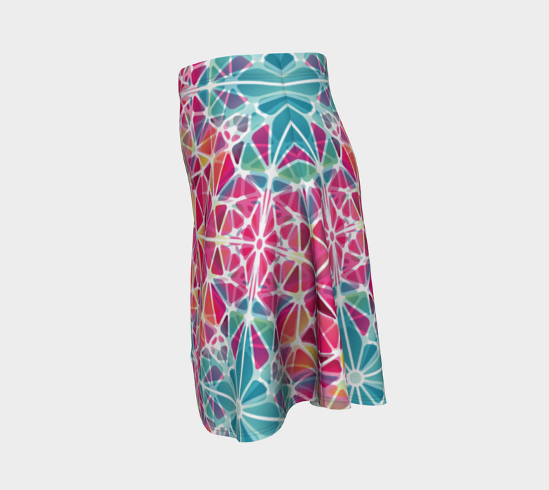 Pink and Blue Kaleidoscope Flare Skirt