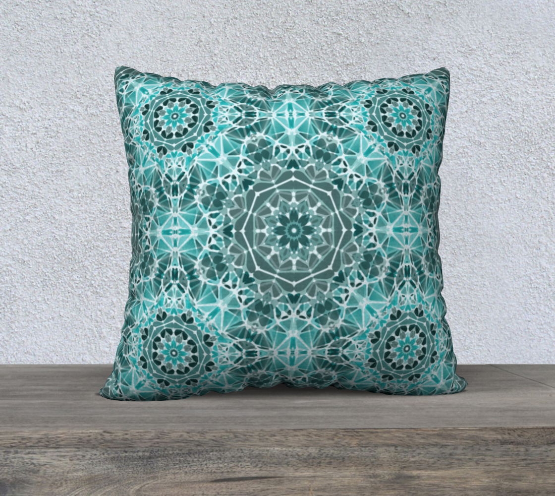 "Turquoise & Gray Kaleidoscope 22"" x 22"" Decorative Pillow Case"