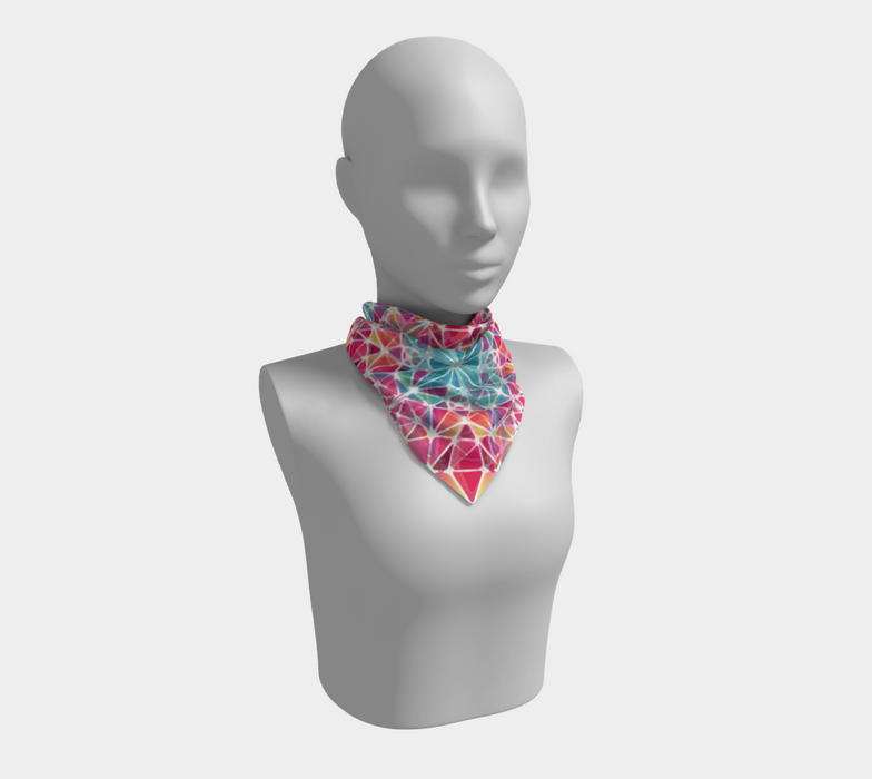 Pink & Blue Kaleidoscope Square Scarf