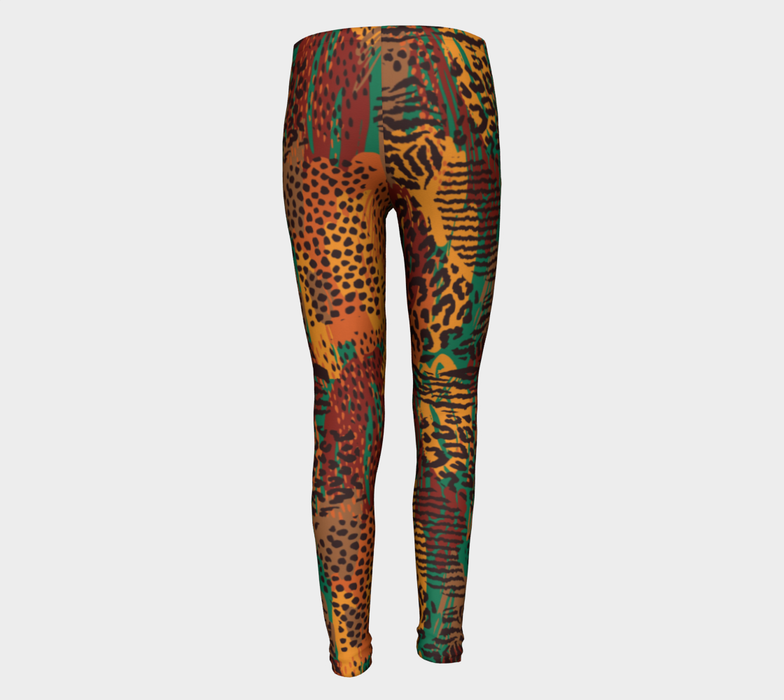 Safari Animal Print Mashup Youth Leggings