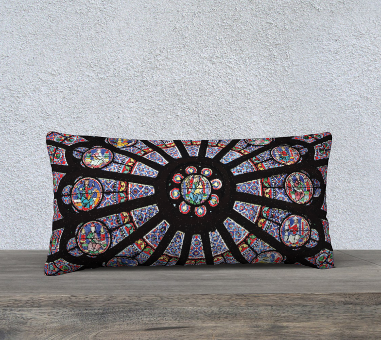 "Rose South Window, Notre Dame Paris 24"" x 12"" Decorative Pillow Case"
