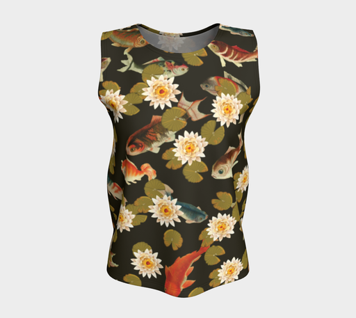 Koi & Lily Pads in Dark Water - Loose Tank Top
