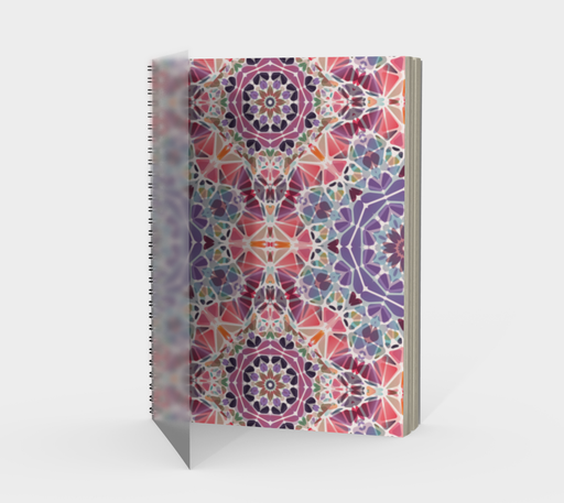 Purple and Pink Kaleidoscope Spiral Notebook - Portrait