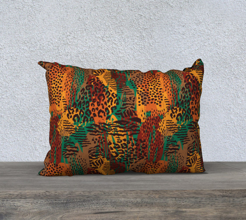 "Safari Animal Print Mashup 20"" x 14"" Decorative Pillow Case"
