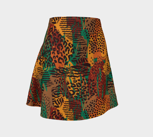 Safari Animal Print Mashup Flare Skirt