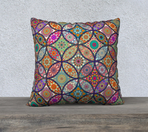 "Vibrant Mandalas 22"" x 22"" Decorative Pillow Case"