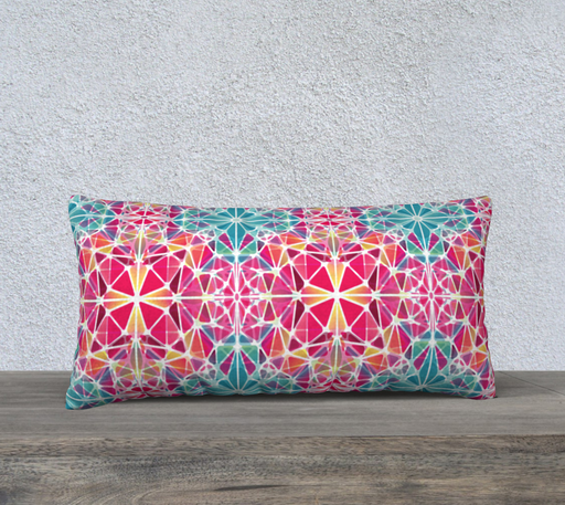 "Pink and Blue Kaleidoscope 24"" x 12""  Decorative Pillow Case"