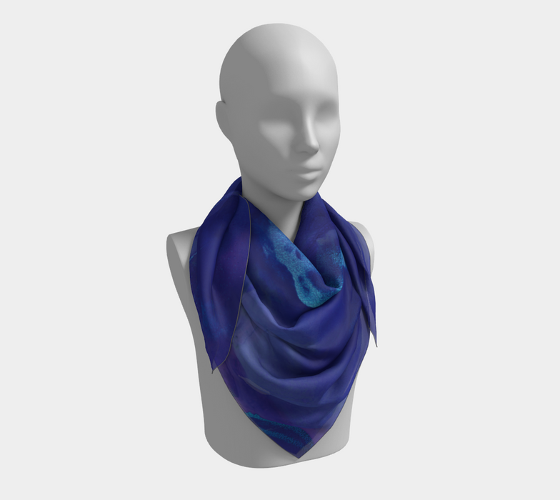 Watercolor Swirls A - Blues, Square Scarf