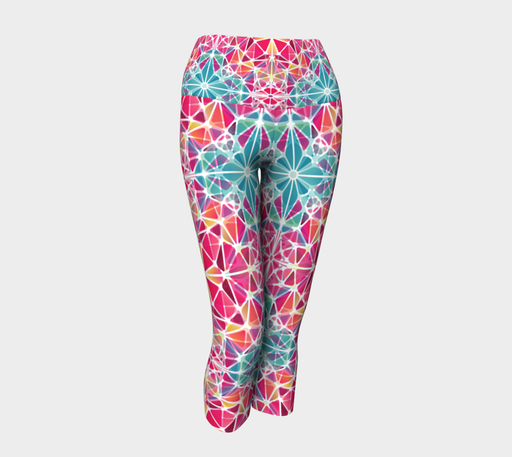 Pink and Blue Kaleidoscope Yoga Capris