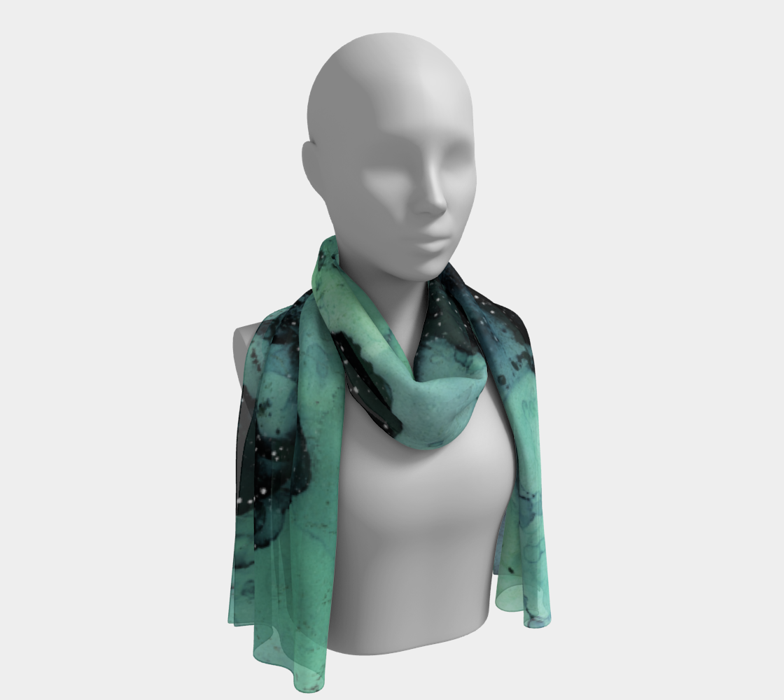 Watercolor Swirls G - Turquoise & Black, Long Scarf