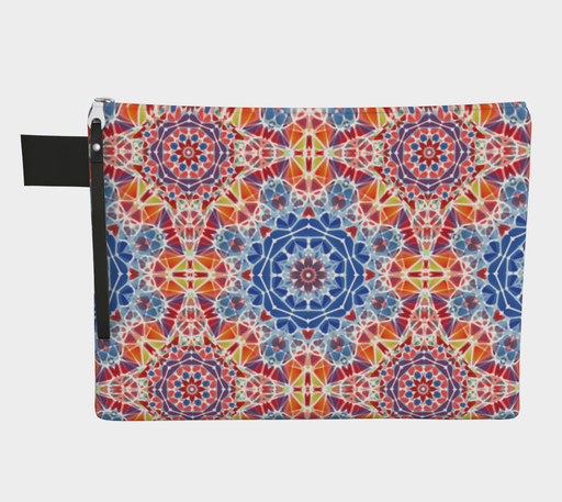 Blue and Orange Kaleidoscope Zipper Carry-All