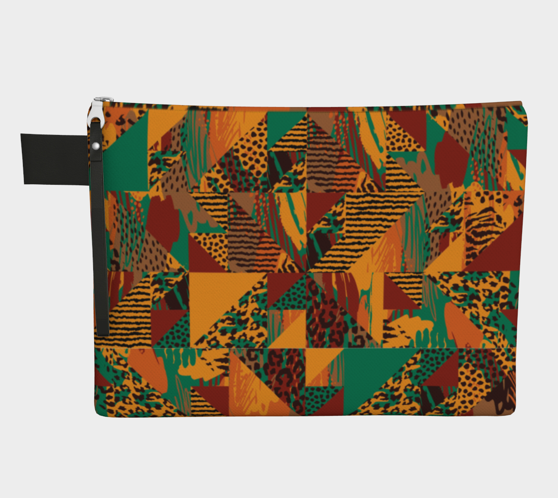 Abstract Safari Print Zipper Carry-All