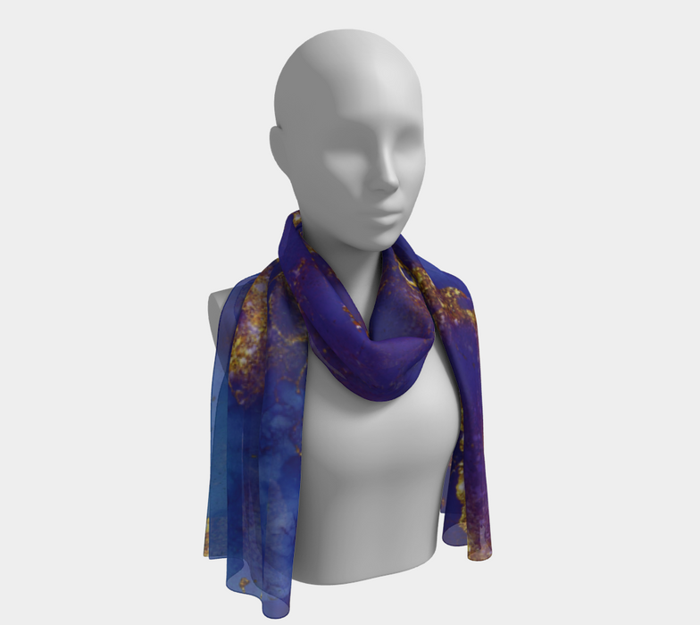 Watercolor Swirls E - Blue & Gold, Long Scarf