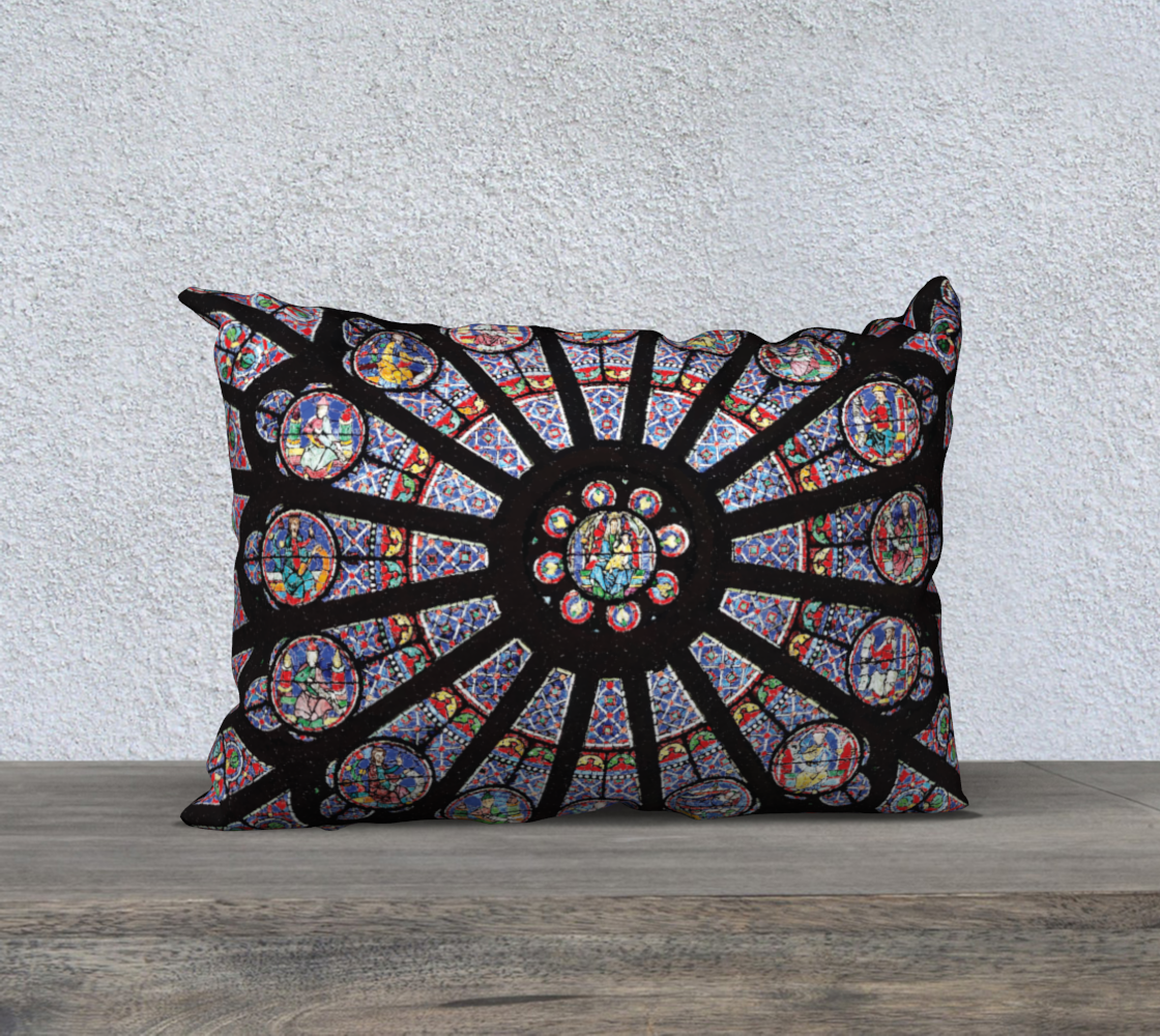 "Rose South Window, Notre Dame Paris  20"" x 14"" Decorative Pillow Case"