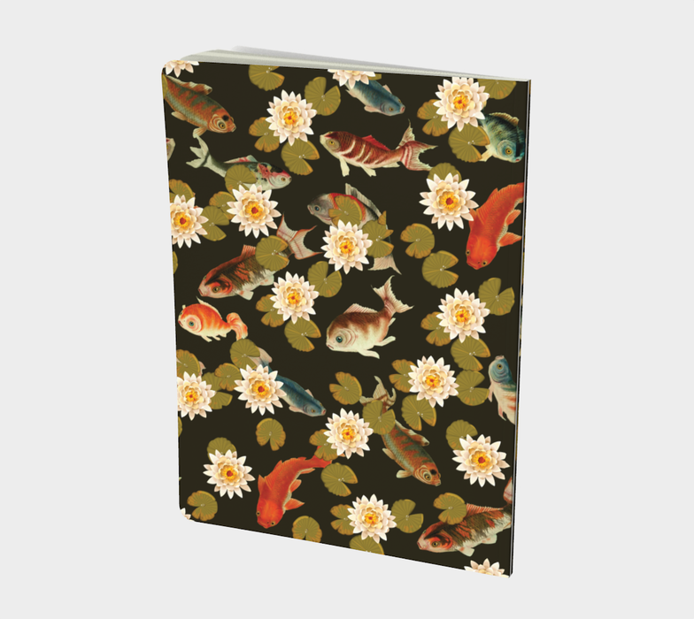 Koi & Lily Pads in Dark Water Large Notebook