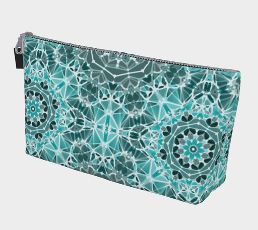 Turquoise & Gray Kaleidoscope Makeup Bag