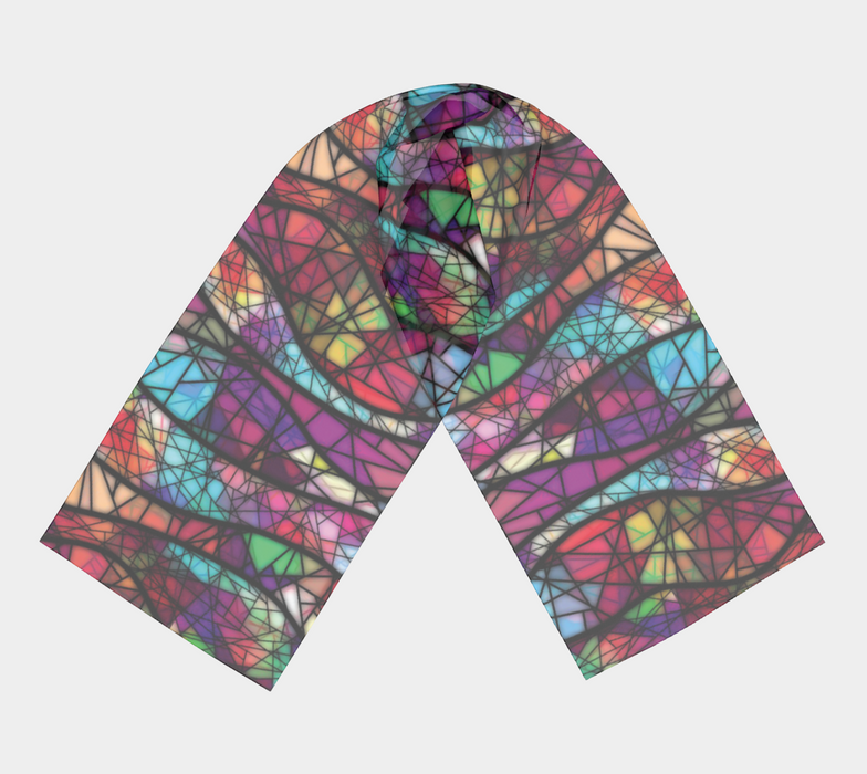 Wavy Mosaic Pattern Long Scarf