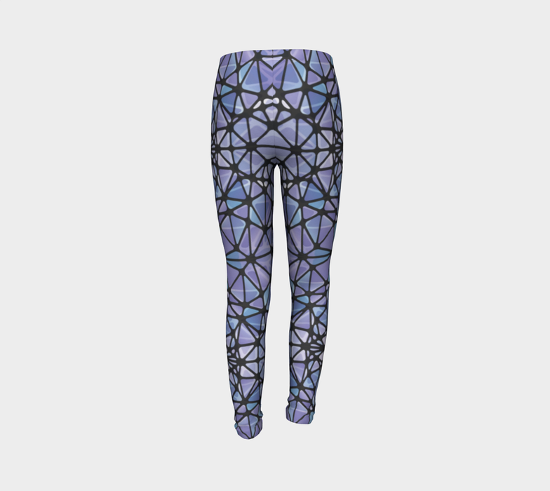 Purple and Blue Kaleidoscope Youth Leggings