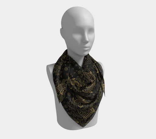 Gold Koi and Flowers on Black Background Square Scarf