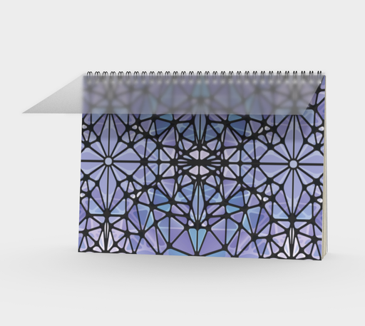 Purple and Blue Kaleidoscope Spiral Notebook - Landscape
